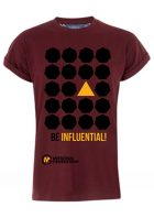 "Maroon t-shirt with text ""Be Influential"""